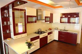 sweet white gloss combined silver kitchen cabinets added red wall