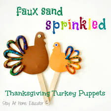 sprinkled thanksgiving turkey puppet craft stay at home educator