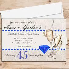 45th wedding anniversary 10 personalised 45th sapphire wedding anniversary invitations n19