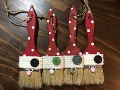 country santa snowman paint brush ornament set nwt