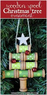 wooden spool tree ornament