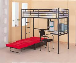 country black painted pine wood full size loft bed with desk and