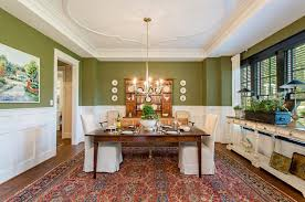 Casual Dining Room Chandeliers Olive Green Walls Dining Room Traditional With Chandelier Wood Shelves