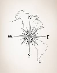 North And South America Map by Nautical Map Of North U0026 South America W Compass Vinyl Wall Decal
