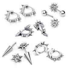 cool earrings aroncent 5 pairs mens cool biker stainless steel spike rivet huggie