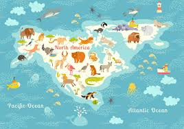 Continents And Oceans Of The World Map by Animals World Map North America Illustrations Creative Market