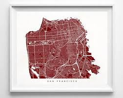 san francisco map framed san francisco map etsy