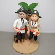 pirate wedding cake topper pirate bride and groom on a bea u2026 flickr