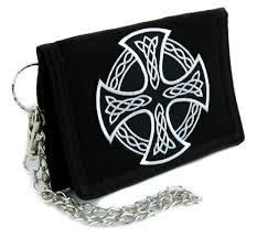 celtic iron cross tri fold wallet with chain alternative clothing