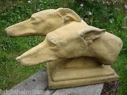 greyhound heads pair on plinth proof garden