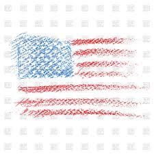 crayon drawing of usa flag royalty free vector clip art image