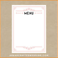 free blank menu template 29 images of blank wedding menu template free infovia net