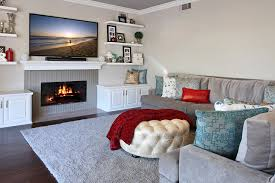 wallpaper lounge sitting room interior fireplace rug sofa television