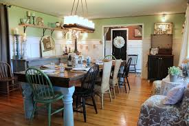 Half Wall Table Farmhouse Metal Chairs Dining Room Shabby Chic Style With Light