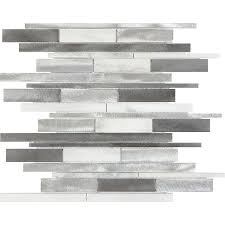Allen And Roth Blinds Shop Anatolia Tile Sleek Ice Linear Mosaic Metal And Stone Wall