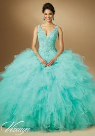 aqua green quinceanera dresses quinceanera dresses by vizcaya beaded lace on ruffled tulle