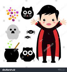 vector set characters icons halloween cartoon stock vector