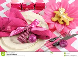 christmas children family party table place settings in pink and