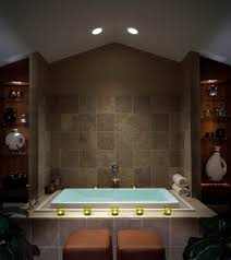 bathroom designs rustic stone wall ceiling lights square infinity