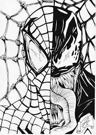 black and white sketches of spiderman spiderman venom b