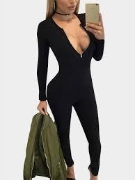 bodycon jumpsuit black zip front v neck sleeves bodycon jumpsuit us 19 95 yoins