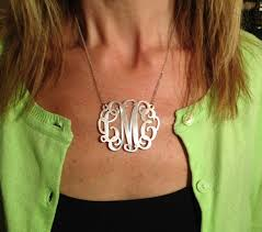 monogram necklace sterling silver large monogram necklace clipart