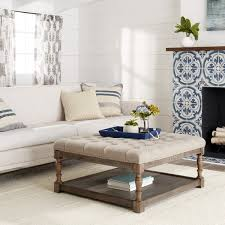 overstock ottoman coffee table creston beige linen tufted ottoman free shipping today