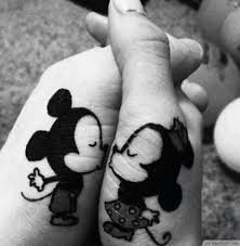 disney cute mickey minnie kissing matching tattoo ideas