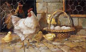 tile murals for kitchen backsplash chickens roosters farm family feathers kitchen backsplash