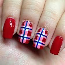 my dainty nails red checkered nails