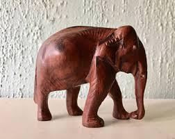 carved wood elephant etsy