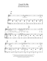 Count On Me Bruno Mars Piano Pdf Digital Sheet Of Bruno Mars For Piano Vocal And Guitar