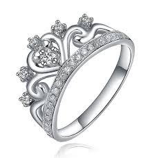 crown wedding rings unique princess crown half carat diamond engagement ring in white