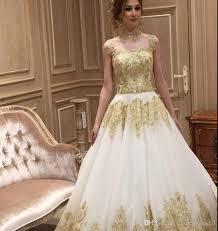 beach wedding dresses plus size high collar gold appliques ball
