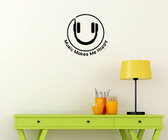 music wall decor music makes me happy wall decal quote with headphones