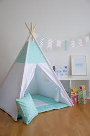 mint drops kids teepee play tent with a padded floor mat by