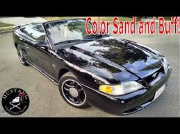 like glass 1995 mustang gt color sand and buff on a single stage