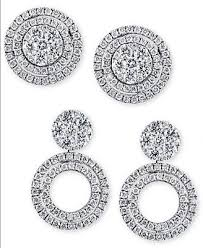 jacket earrings effy diamond cluster stud convertible jacket earrings 1 ct t w