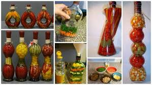 decorative bottle with vegetables for the kitchen decor simple