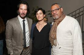 moss and keanu reeves carrie moss and laurence fishburne matrix reunion