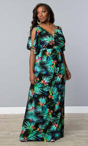 coastal cold shoulder dress tropical palm print plussize