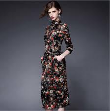 women dress 2015 autumn new long sleeve printing designer western