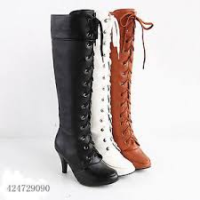 fashion s high heel lace up knee high boots shoes uk all