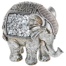 sculptures ornaments animals silver crackle elephant large ornament