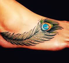42 cool feather foot tattoos