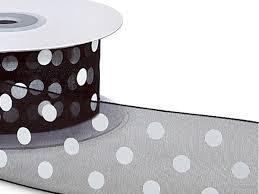 black and white polka dot ribbon black w white printed dots ribbon 1 1 2 x25 yds 100 sheer