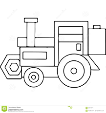 tractor kids geometrical figures coloring page stock illustration