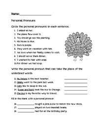 personal pronoun thanksgiving fall worksheet by kindergarten kraziness