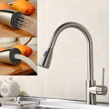 brush nickel 350 mm pipe pull out kitchen faucet 360 degree swivel