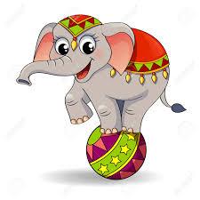 funny cartoon circus elephant balancing on ball royalty free